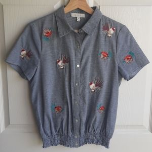Eri + Ali Embroidered Garden Top Blouse Size Small